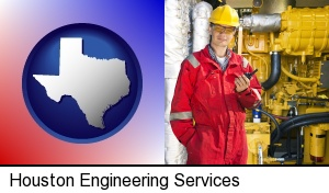 Houston, Texas - a hydraulics engineer, wearing a red jumpsuit