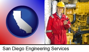 San Diego, California - a hydraulics engineer, wearing a red jumpsuit