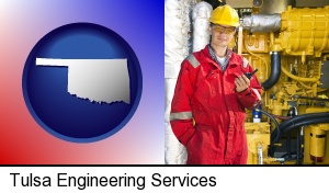 Tulsa, Oklahoma - a hydraulics engineer, wearing a red jumpsuit