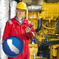 california map icon and a hydraulics engineer, wearing a red jumpsuit