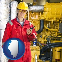 illinois map icon and a hydraulics engineer, wearing a red jumpsuit