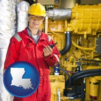 louisiana map icon and a hydraulics engineer, wearing a red jumpsuit