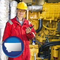 montana map icon and a hydraulics engineer, wearing a red jumpsuit