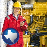 texas map icon and a hydraulics engineer, wearing a red jumpsuit