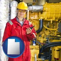 utah map icon and a hydraulics engineer, wearing a red jumpsuit