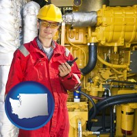 washington map icon and a hydraulics engineer, wearing a red jumpsuit