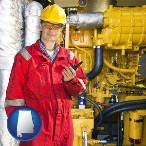 a hydraulics engineer, wearing a red jumpsuit - with Alabama icon