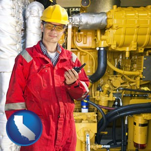 a hydraulics engineer, wearing a red jumpsuit - with California icon