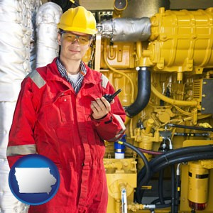 a hydraulics engineer, wearing a red jumpsuit - with Iowa icon