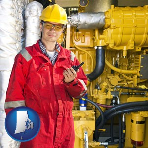 a hydraulics engineer, wearing a red jumpsuit - with Rhode Island icon
